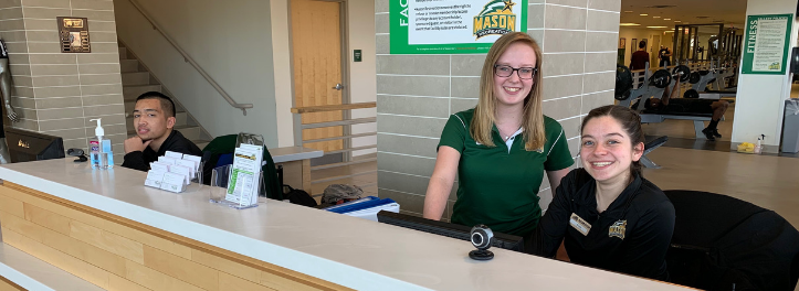 Front desk staff at the RAC, one of three Mason Recreation gyms